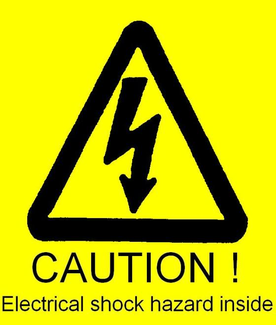 Caution electrical shock hazard inside sign