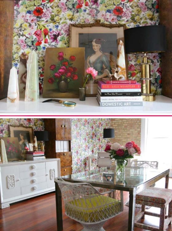 oficina empapelada papel de flores designers guild