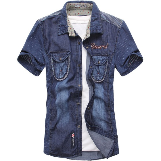 2013-fashionable-casual-patchwork-denim-short-sleeve-shirt-male-stand-collar-100-cotton-blue-denim-short